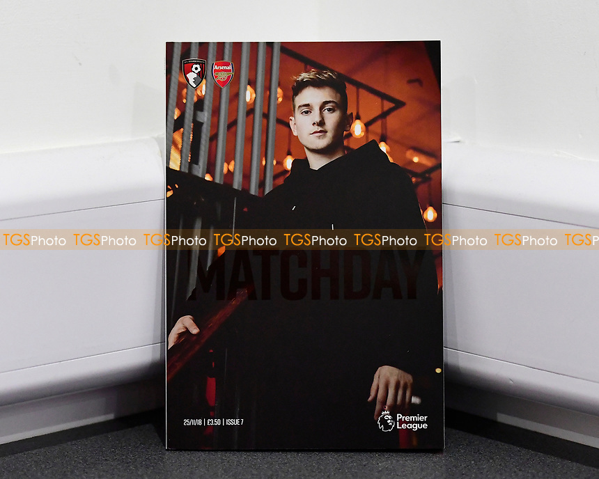 David Brooks of AFC Bournemouth on the front of the match day programme during AFC Bournemouth vs Arsenal, Premier League Football at the Vitality Stadium on 25th November 2018