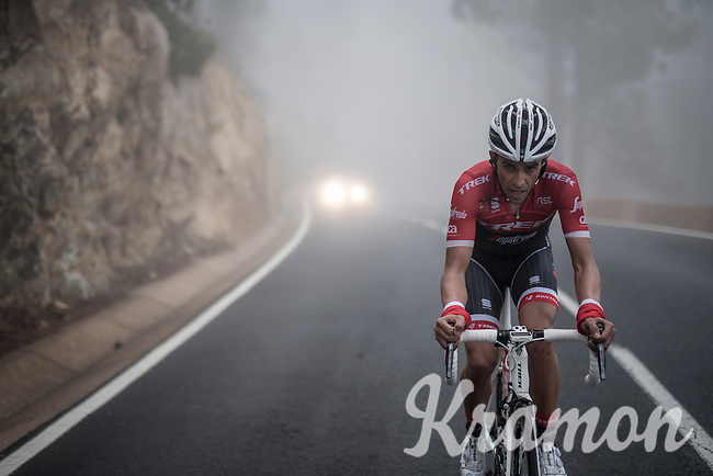 Team Trek-Segafredo winter training camp with Alberto Contador up the misty Tiede Volcano in Tenerife on his customised Trek Emonda<br /> <br /> january 2017, Tenerife/Spain
