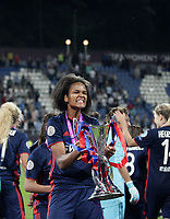 Football, Uefa Women's Champions League Final, VfL Wolfsburg - Olympique Lyonnais, Valeriy Lobanovskyi Stadium in Kiev on May 24, 2018.<br /> Olympique Lyonnais' captain Wendie Renard celebrates with the trophy after winning 4-1 the Uefa Women's Champions League Final against VfL Wolfsburg at Valeriy Lobanovskyi Stadium in Kiev on May 24, 2018.<br /> UPDATE IMAGES PRESS/Isabella Bonotto