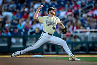 Vanderbilt Commodores pitcher Mason Hickman (44) delivers a pitch to the plate against the Louisville Cardinals in the NCAA College World Series on June 21, 2019 at TD Ameritrade Park in Omaha, Nebraska. Vanderbilt defeated Vanderbilt defeated Louisville 3-2 to head to the CWS Finals. (Andrew Woolley/Four Seam Images)