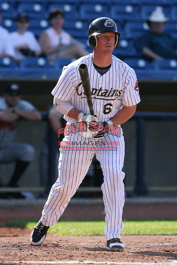 June 11th 2008: Dustin Realini of the Lake County Captains, Class-A affiliate of the Cleveland Indians, during a game at Classic Park in Eastlake,OH.  Photo by:  Mike Janes/Four Seam Images