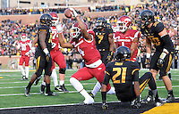 NWA Media/Michael Woods --11/28/2014-- w @NWAMICHAELW...University of Arkansas receiver Keon Hatcher celebrates after scoring a touchdown in the 2nd quarter of Friday afternoons game at Faurot Field in Columbia Missouri.
