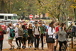 The sidewalks become congested at class change time. Photo by Kevin Bain/University Communications Photography
