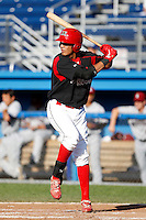 Batavia Muckdogs outfielder David Medina #44 during the first game of a doubleheader against the Mahoning Valley Scrappers at Dwyer Stadium on August 22, 2011 in Batavia, New York.  Batavia defeated Mahoning Valley 3-2 in extra innings.  (Mike Janes/Four Seam Images)