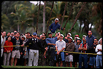 Tiger Woods chips one off the fairway at the Genuity Open at Doral in Miami, Fl.