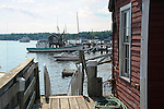 Fishing Dock and Boats in Harbor, Maine, USA