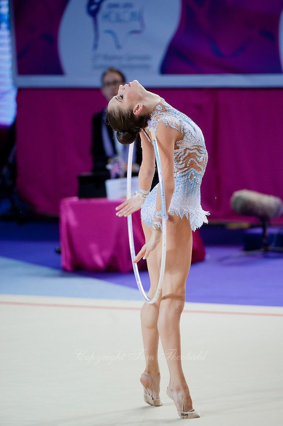 NEVIANA VLADINOVA of Bulgaria performs with hoop at 2016 European Championships at Holon, Israel on June 18, 2016.