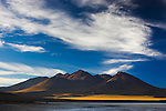 Bolivia, Altiplano,volcano at Laguna Canapa at sunset