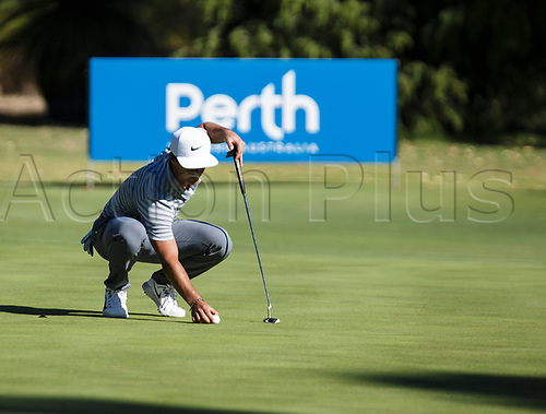 8th February 2018, Lake Karrinyup Country Club, Karrinyup, Australia; ISPS HANDA World Super 6 Perth, first round; Thorbjorn Olesen (DEN) lines up a put