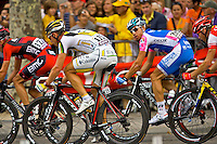 HTC Columbia professional cyclist Tony Martin rides amongst the peleton on the Champs Elysees during the Tour de France, 25th July 2010