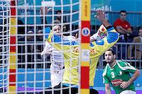 Algeria's Samir Kerbouche (b) and Croatia's Ivan Cupic during 23rd Men's Handball World Championship preliminary round match.January 14,2013. (ALTERPHOTOS/Acero) 7NortePhoto