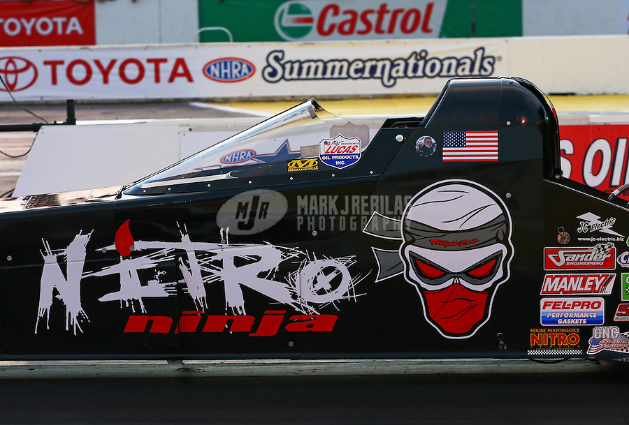 May 31, 2013; Englishtown, NJ, USA: NHRA top fuel dragster driver Dom Lagana during qualifying for the Summer Nationals at Raceway Park. Mandatory Credit: Mark J. Rebilas-