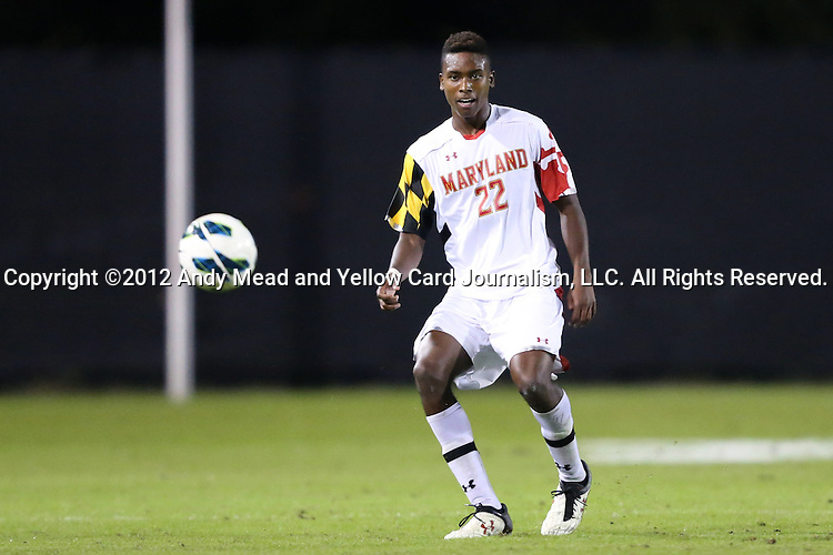 12 October 2012: Maryland's London Woodberry. The University of Maryland Terrapins defeated the Duke University Blue Devils 2-1 at Koskinen Stadium in Durham, North Carolina in a 2012 NCAA Division I Men's Soccer game.