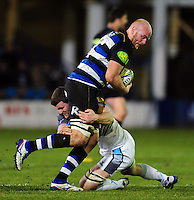 Matt Garvey of Bath Rugby takes on the Newcastle Falcons defence. Aviva Premiership match, between Bath Rugby and Newcastle Falcons on March 18, 2016 at the Recreation Ground in Bath, England. Photo by: Patrick Khachfe / Onside Images