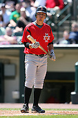 May 13, 2009:  Third Baseman Luis Cruz of the Indianapolis Indians, International League Class-AAA affiliate of the Pittsburgh Pirates, at bat during a game at Frontier Field in Rochester, FL.  Photo by:  Mike Janes/Four Seam Images