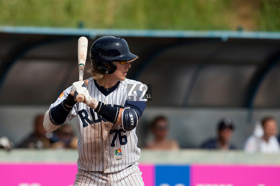 23 May 2009: Luc Piquet of Rouen is seen at bat during the 2009 challenge de France, a tournament with the best French baseball teams - all eight elite league clubs - to determine a spot in the European Cup next year, at Montpellier, France. Rouen wins 6-2 over La Guerche.
