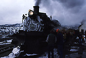 S&amp;S #481 with Cascade Canyon winter train at Durango depot after arriving from the north.<br /> D&amp;S  Durango, CO