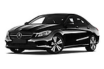 Stock pictures of low aggressive front three quarter view of a 2018 Mercedes Benz CLA Coupe Business Solution 4 Door Sedan