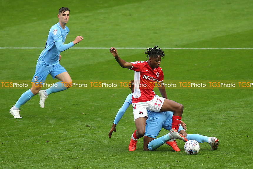 Joe Aribo of Charlton tries to dispossess Coventy's Dujon Sterling during Charlton Athletic vs Coventry City, Sky Bet EFL League 1 Football at The Valley on 6th October 2018
