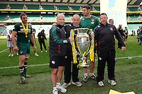 The Leicester Tigers coaching team (L-R) Paul Burke, Assistant Coach, Richard Cockerill, Leicester Tigers Director of Rugby, Richard Blaze, Assistant Coach and Matt O'Connor, Leicester Tigers Head Coach hold the trophy after winning the Aviva Premiership Final between Leicester Tigers and Northampton Saints at Twickenham Stadium on Saturday 25th May 2013 (Photo by Rob Munro)