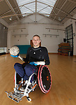 Paralympian wheelchair rugby player Mike Kerr during a training session at the Palace of Art in Govan, Glasgow