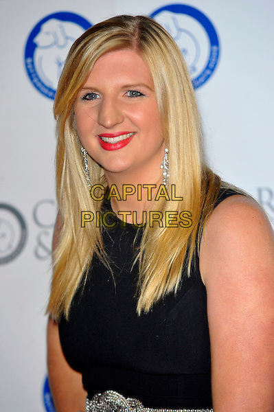 Rebecca Adlington.Attending the Battersea Dogs & Cats Home 'Collars & Coats Gala Ball 2012' held at Battersea Evolution, London, England, UK, 8th November 2012 .portrait headshot red lipstick smiling black sleeveless .CAP/CJ.©Chris Joseph/Capital Pictures.