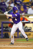LSU Tigers outfielder Raph Rhymes #4 at bat against the Auburn Tigers in the NCAA baseball game on March 23, 2013 at Alex Box Stadium in Baton Rouge, Louisiana. LSU defeated Auburn 5-1. (Andrew Woolley/Four Seam Images).