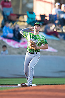 Eugene Emeralds third baseman Jake Slaughter (41) throws to first base during a Northwest League game against the Salem-Keizer Volcanoes at Volcanoes Stadium on August 31, 2018 in Keizer, Oregon. The Eugene Emeralds defeated the Salem-Keizer Volcanoes by a score of 7-3. (Zachary Lucy/Four Seam Images)