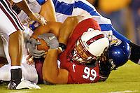Matt Leonard makes an interceptiobn during Stanford's 63-26 win over San Jose State on September 14, 2002 at Stanford Stadium.<br />Photo credit mandatory: Gonzalesphoto.com