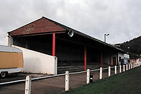 Covered terracing at Abergavenny Thursdays FC Football Ground, Pen-Y-Pound Stadium, Abergavenny, Gwent, Wales, pictured on 31st December 1994