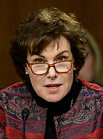 """United States Senator Jacky Rosen (Democrat of Nevada) questions witnesses as they testify before the US Senate Committee on Homeland Security and Governmental Affairs Permanent Subcommittee on Investigations during a hearing on """"Examining Private Sector Data Breaches"""" on Capitol Hill in Washington, DC on Thursday, March 7, 2019.<br /> Credit: Ron Sachs / CNP/AdMedia"""