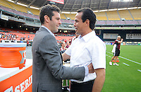 D.C. United head coach Ben Olsen with Colorado Rapids head coach Oscar Pareja. D.C. United defeated the Colorado Rapids 2-0 at RFK Stadium, Wednesday May 16, 2012.