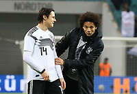 Nico Schulz (Deutschland Germany) und Leroy Sane (Deutschland Germany) haben Spaß - 15.11.2018: Deutschland vs. Russland, Red Bull Arena Leipzig, Freundschaftsspiel DISCLAIMER: DFB regulations prohibit any use of photographs as image sequences and/or quasi-video.