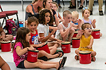 Prospect, CT. 17 July 2019-071719 - A group of young kids have fun banging on their drums and making music, during a interactive presentation by Bob Bloom hosted by the Friends of the Prospect Library, at Prospect Fire House in Prospect on Wednesday. Bill Shettle Republican-American
