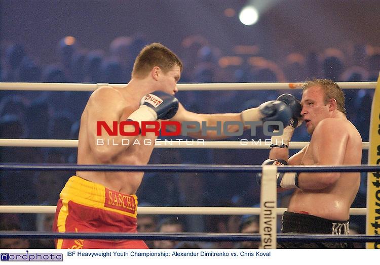 Wilhelm-Dopatka-Halle Leverkusen <br /> <br /> Universum Box-Promotion <br /> <br /> <br /> <br /> IBF Heavyweight Youth Championship:<br /> <br /> Alexander Dimitrenko vs. Chris Koval <br /> <br /> <br /> <br /> Alexander Dimitrenko gewann nach 10 Runden einstimmig nach Punkten.<br /> <br /> <br /> <br />  Foto &copy; nordphoto <br /> <br /> <br /> <br /> <br /> <br /> <br /> <br /> <br /> <br /> <br /> <br /> <br /> <br /> <br /> <br />  *** Local Caption *** Foto ist honorarpflichtig! zzgl. gesetzl. MwSt.<br /> <br />  <br /> <br />  Belegexemplar erforderlich<br /> <br /> <br /> <br /> Adresse: nordphoto<br /> <br /> <br /> <br /> Georg-Reinke-Strasse 1<br /> <br /> <br /> <br /> 49377 Vechta