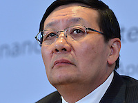 Washington, DC - April 15, 2016: Lou Jiwei, Chinese Minister of Finance, holds a news conference on behalf of the G20 finance ministers and Central Bank governors at the World Bank Headquarters in the District of Columbia during the IMF/World Bank spring Meetings, April 15, 2016.  (Photo by Don Baxter/Media Images International)