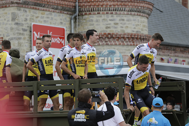 Team Lotto NL-Jumbo arrive for the team presentations before the start of the 2016 Tour de France, Sainte-Mere-Eglise, France . 30th June 2016.<br /> Picture: Eoin Clarke | Newsfile<br /> <br /> <br /> All photos usage must carry mandatory copyright credit (&copy; Newsfile | Eoin Clarke)