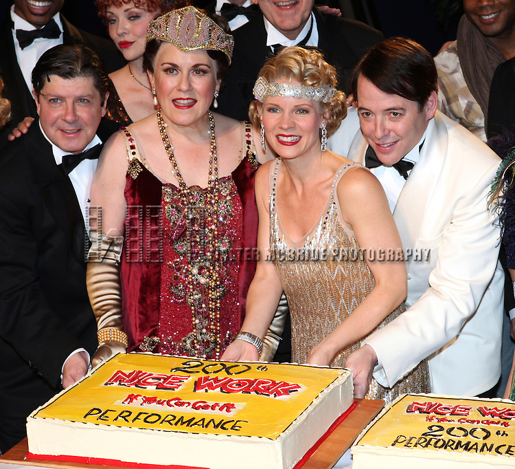 Michael McGrath, Judy Kaye, Kelli O'Hara, Matthew Broderick and Company backstage celebrating the 200th Performance of 'Nice Work if You Can Get It' on Broadway at the Imperial Theatre on October 17, 2012 in New York City.