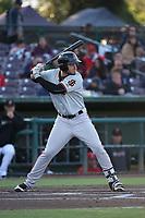 Jonah Arenado (7) of the San Jose Giants bats against the Inland Empire 66ers at San Manuel Stadium on April 8, 2017 in San Bernardino, California. (Larry Goren/Four Seam Images)