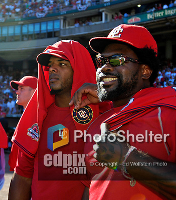 23 September 2007: Washington Nationals first baseman Dmitri Young (right) stands with outfielder Wily Mo Pena awaiting a post-game jersey ceremony commemorating the last professional baseball game played at Robert F. Kennedy Memorial Stadium in Washington, DC. The Nationals defeated the visiting Philadelphia Phillies 5-3 to close out the 2007 season at RFK Stadium.. .Mandatory Photo Credit: Ed Wolfstein Photo