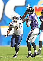 Sep. 20, 2009; San Diego, CA, USA; San Diego Chargers defensive end (74) Jacques Cesaire pressures Baltimore Ravens quarterback (5) Joe Flacco at Qualcomm Stadium in San Diego. Baltimore defeated San Diego 31-26. Mandatory Credit: Mark J. Rebilas-