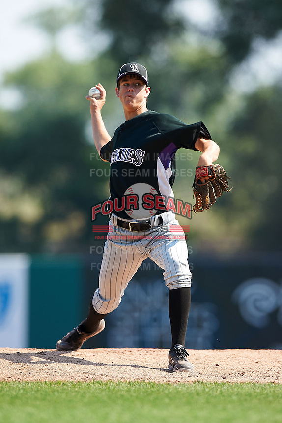 Taylor Cockrell #10 of Lake Wales High School in Lake Wales, Florida playing for the Colorado Rockies scout team during the East Coast Pro Showcase at Alliance Bank Stadium on August 4, 2012 in Syracuse, New York.  (Mike Janes/Four Seam Images)