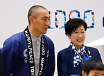 October 28, 2017, Tokyo, Japan - Kabuki actor Ebizo Ichikawa and Tokyo Governor Yuriko Koike smile for photo at the countdown event for the Tokyo 2020 Olympic Games, 1,000 days before the opening of the Olympics in Tokyo on Saturday, October 27, 2017. .   (Photo by Yoshio Tsunoda/AFLO) LWX -ytd-