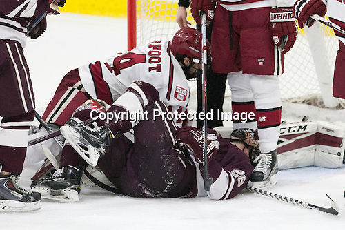 Alexander Kerfoot (Harvard - 14), Hunter Racine (Colgate - 28) -  - The Harvard University Crimson defeated the visiting Colgate University Raiders 7-4 (EN) on Saturday, February 20, 2016, at Bright-Landry Hockey Center in Boston, Massachusetts.