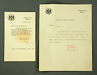 """BNPS.co.uk (01202 558833)<br /> Pic: MitchellsAuctionHouse/BNPS<br /> <br /> PICTURED: Letters from Downing Street, that stress the harbour must """"move up and down with the tide"""".<br /> <br /> The fascinating archive of one of the engineers who designed the Mulberry Harbours which were installed off the Normandy coast following the D-Day landings has come to light.<br /> <br /> Colonel Vassal Charles Steer-Webster OBE helped create the giant, floating artificial harbours which protected anchored supply ships from German attacks.<br /> <br /> They were built in the dry docks on The Thames and Clyde and pulled across the channel by tugs before being hastily assembled.<br /> <br /> Col Steer-Webster was in almost daily contact with Churchill during their development ahead of June 6, 1944. Now, his personal effects, including a letter of thanks from Winston Churchill, are being sold by his nephew with Mitchells Auctioneers, of Cockermouth, Cumbria. <br /> <br /> The archive, which is expected to fetch £15,000, also features 150 photos showing Mulberry B's construction and use, as well as his medals."""
