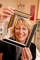 Julie sands, owner of Tre Colours art gallery, Mapperley, Nottingham