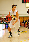 26 January 2010: University of Vermont Catamounts' guard/forward Lauren Wheeler, a Freshman from Ancaster, Ontario, in action against the University of Hartford Hawks at Patrick Gymnasium in Burlington, Vermont. The Hawks defeated the Lady Cats 38-36 in a closely matched America East contest. Mandatory Credit: Ed Wolfstein Photo