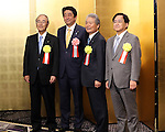 January 5, 2017, Tokyo, Japan - Japanese Prime Minister Shinzo Abe (2nd L) poses with Japanese business group leaders Akio Mimura (L), Sadayuki Sakakibara (2nd R) and Yoshimitsu Kobayashi (R) for photo prior to a business leaders' New Year party at a Tokyo hotel on Tuesday, January 5, 2017.  (Photo by Yoshio Tsunoda/AFLO)