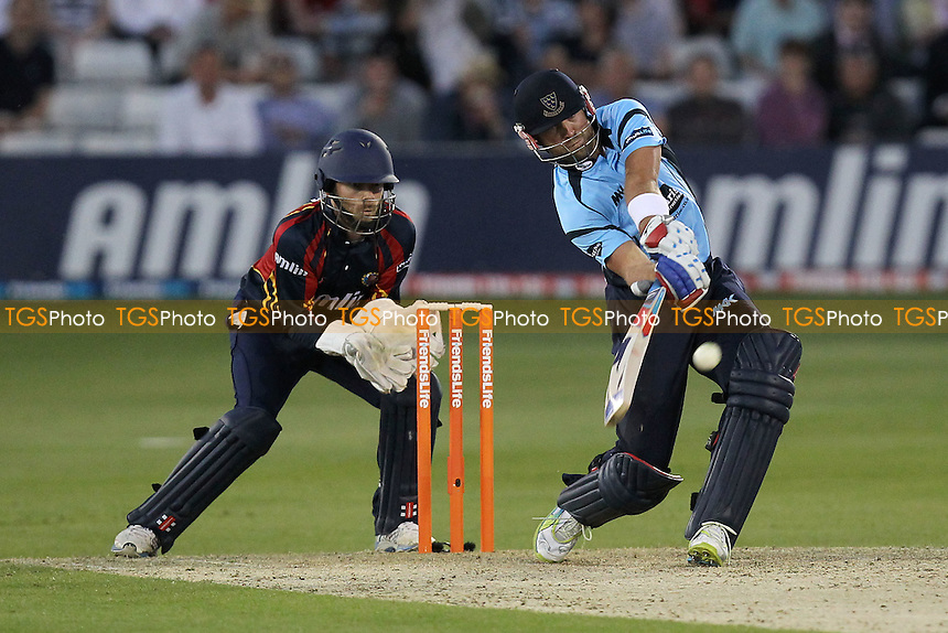 James Foster of Essex can only watch as Matt Prior hits six runs for his team - Essex Eagles vs Sussex Sharks - Friends Life T20 Cricket at the Ford County Ground, Chelmsford, Essex - 28/06/12 - MANDATORY CREDIT: Gavin Ellis/TGSPHOTO - Self billing applies where appropriate - 0845 094 6026 - contact@tgsphoto.co.uk - NO UNPAID USE.