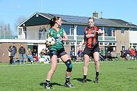 KORFBAL: REDUZUM: Sportpark Reduzum, 28-04-2013, Veld Hoofdklasse A, KV Mid Fryslân-LDODK AH Gorredijk, Eindstand 13-19, Hilde de Boer (#10 | LDODK), Nynke Sinnema (#5 | MF), ©foto Martin de Jong